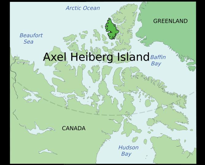 Аксель-Хейберг на карте территории Нунавут