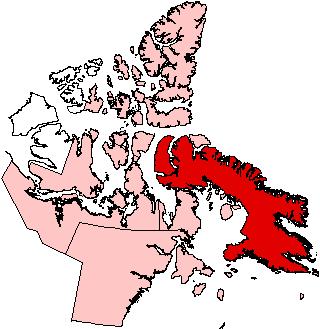 Баффинова Земля на карте провинции Нунавут