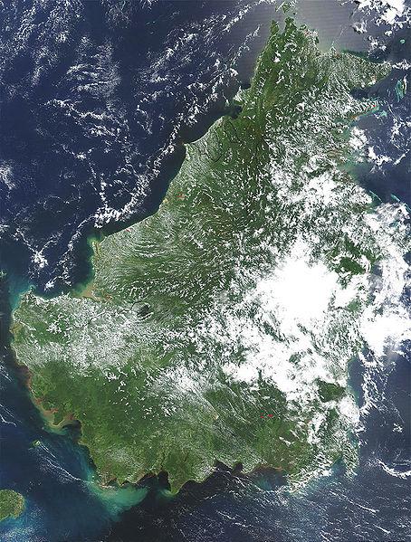 Космический снимок острова Калимантан