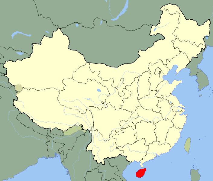 Хайнань на карте мира