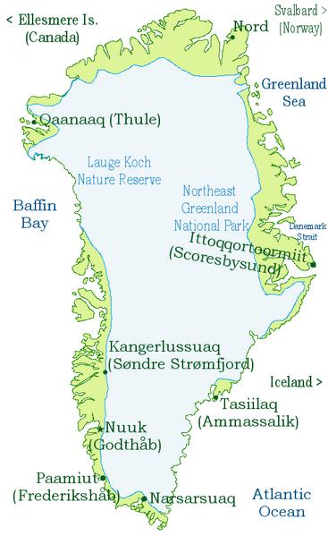 Карта-схема Гренландии и её ледникового щита
