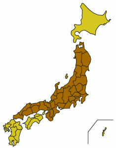 Остров Хонсю на карте Японии
