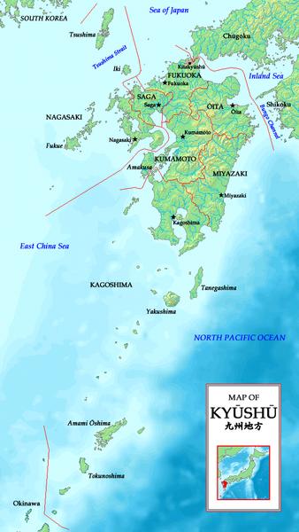 Остров Кюсю на карте мира