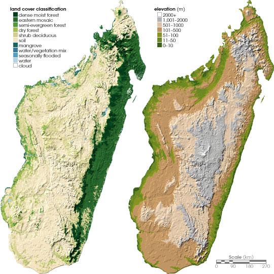 Топографическая карта острова Мадагаскар