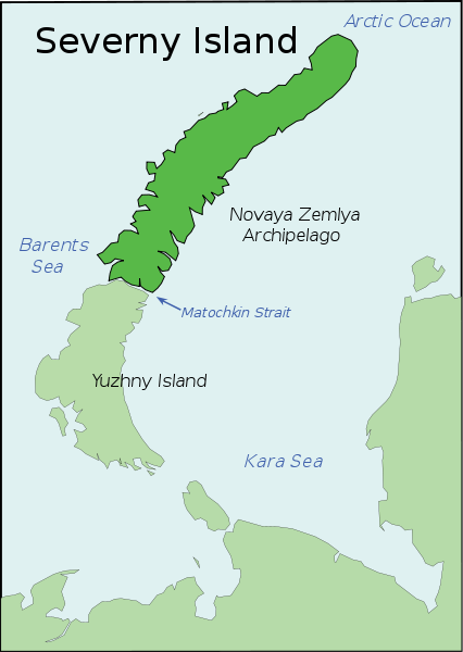 Северный остров Новая Земля на карте