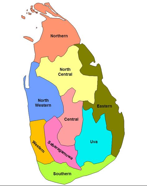 Провинции Шри-Ланки на карте мира