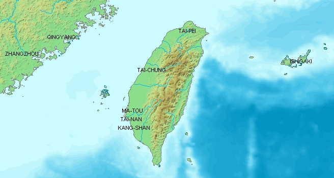 Карта острова Тайвань