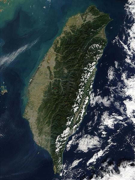 Вид острова Тайваня из космоса