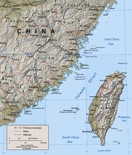 Карта восточной части острова Тайвань