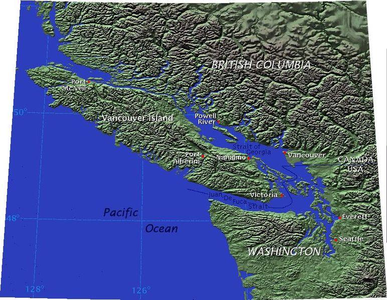 Снимок из космоса острова Ванкувер