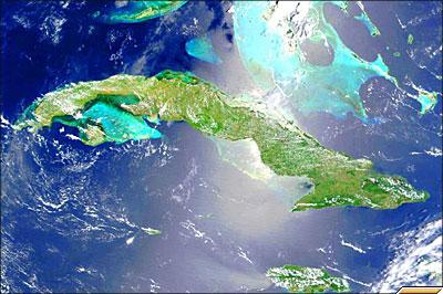 Снимок из космоса острова Куба