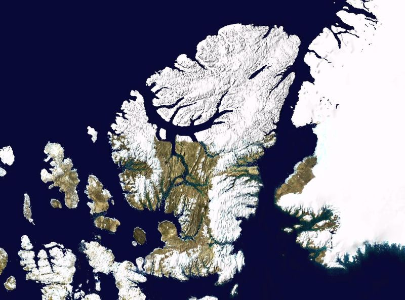Остров Элсмир - вид из космоса