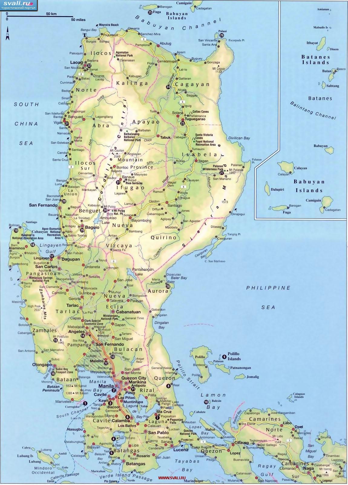 Карта острова Лусон