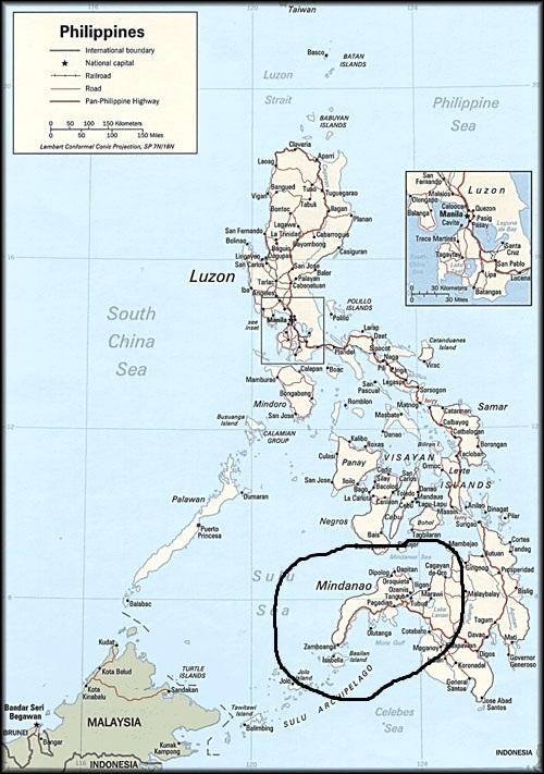 Остров Минданао на карте мира
