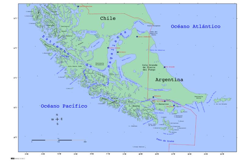 Архипелаг Огненная Земля на карте мира