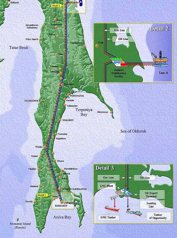 Карта острова Сахалин