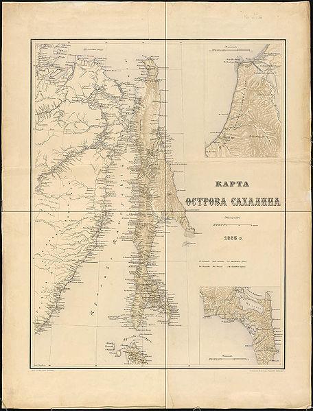 Карта острова Сахалин 1885 год