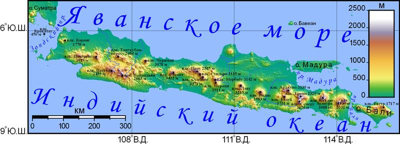 Физическая карта острова Явы